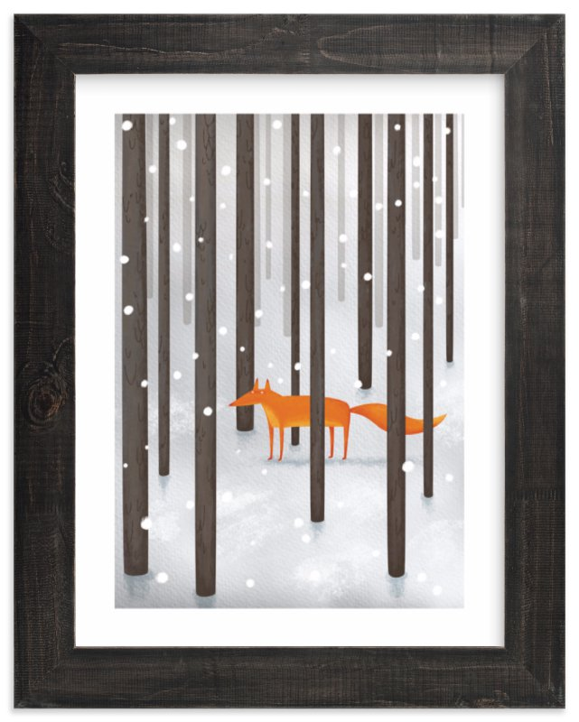 """""""The Fox In The Snow"""" - Limited Edition Art Print by Katerina Pushkina in beautiful frame options and a variety of sizes."""