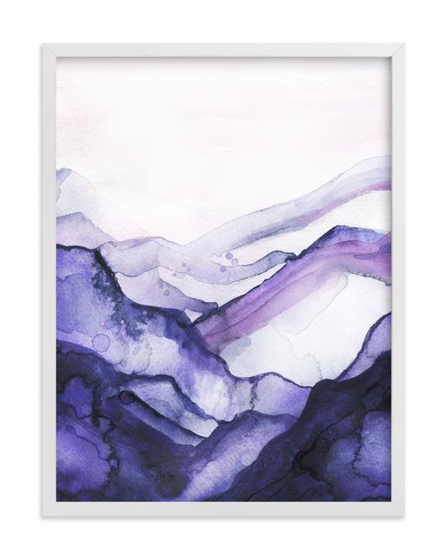 This is a purple kids wall art by Jen Merli called Drift Watercolor.