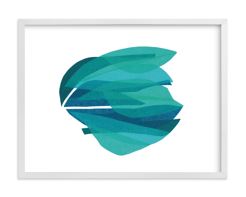 This is a blue kids wall art by Carrie Moradi called tissue seagrass.