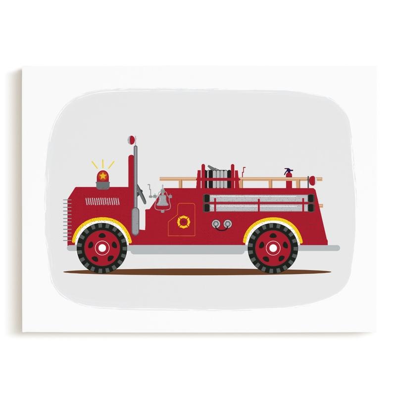 Red Fire Truck #2 Children's Art Print