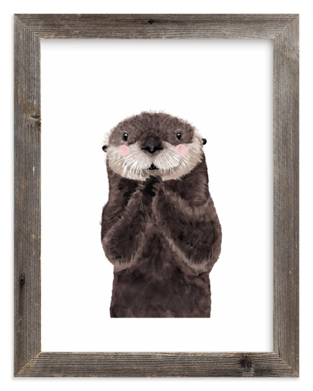 """""""Baby Animal Sea Otter"""" - Limited Edition Art Print by Cass Loh in beautiful frame options and a variety of sizes."""