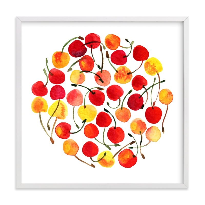 This is a colorful kids wall art by Alexandra Dzh called whimsical watercolor cherries.