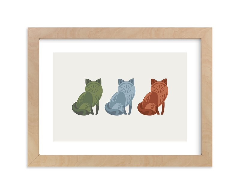 """Mod Foxes"" - Limited Edition Art Print by Jennifer Morehead in beautiful frame options and a variety of sizes."