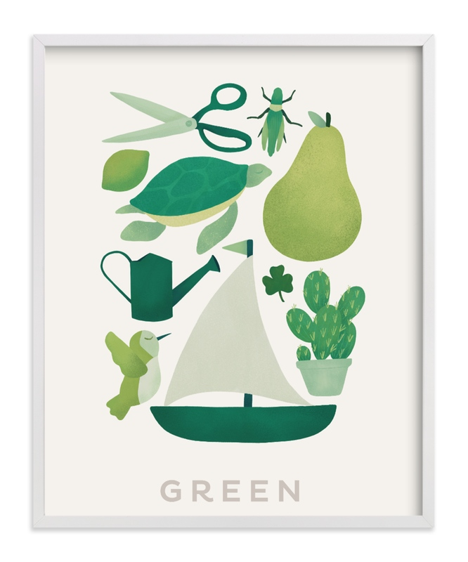 Ten Green Things Children's Art Print