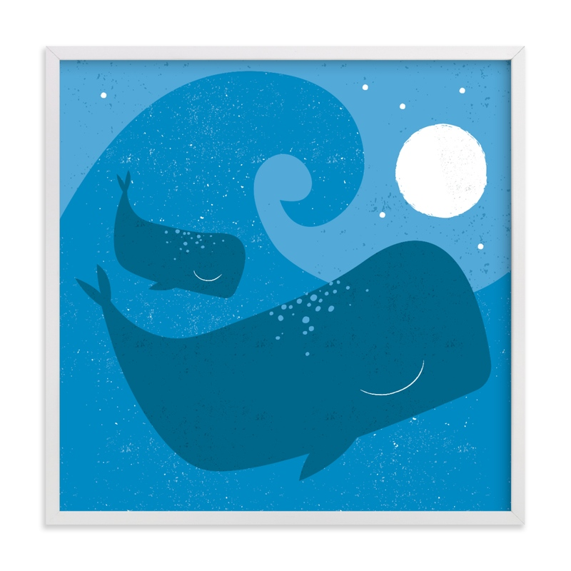 This is a blue kids wall art by Angela Thompson called midnight splash.