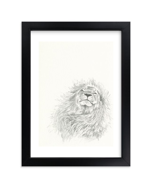 """""""Happy Lion"""" - Limited Edition Art Print by Christy Sheehan in beautiful frame options and a variety of sizes."""