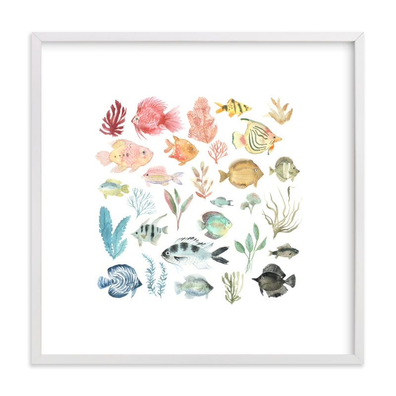 This is a colorful kids wall art by Emilie Simpson called Tropical Fish.