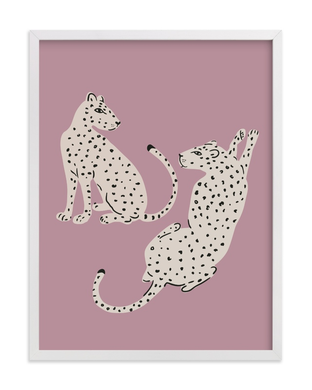 This is a purple kids wall art by Stellax Creative called Resting Cheetahs.
