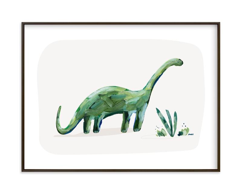 brave brontosaurus Children's Art Print