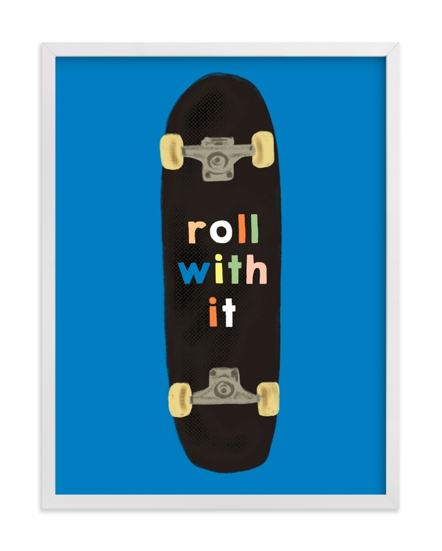 This is a blue kids wall art by Baumbirdy called roll with it.