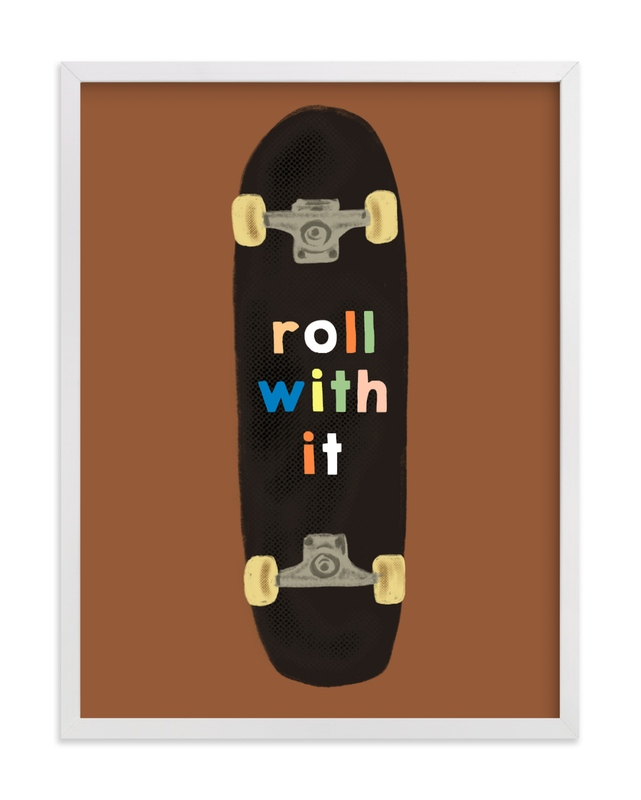 This is a brown kids wall art by Baumbirdy called roll with it.