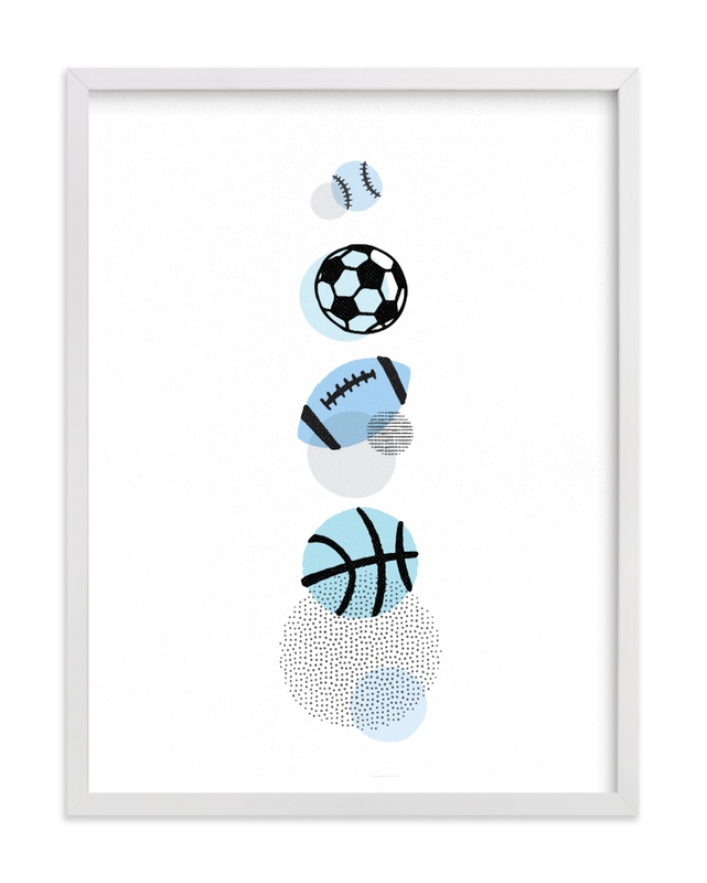 This is a blue kids wall art by Jessie Steury called Pop Art Sports.