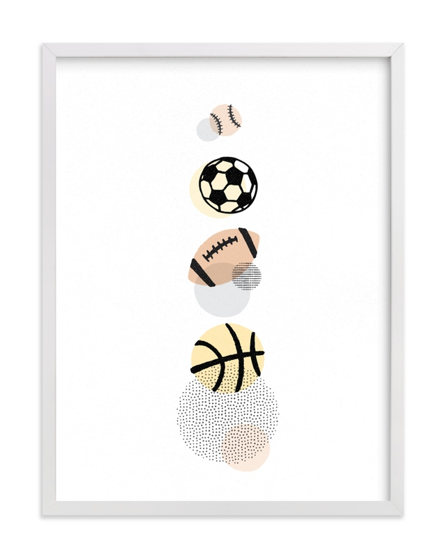 This is a yellow kids wall art by Jessie Steury called Pop Art Sports.