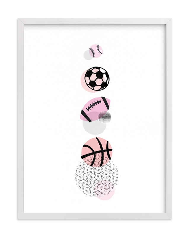 This is a pink kids wall art by Jessie Steury called Pop Art Sports.
