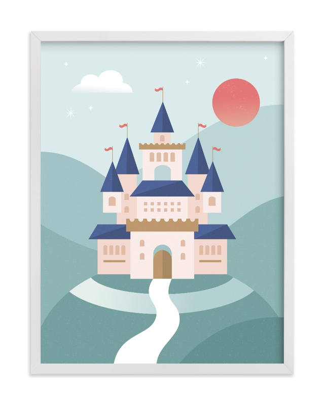 This is a blue kids wall art by Kristen Smith called Fairy Tale.