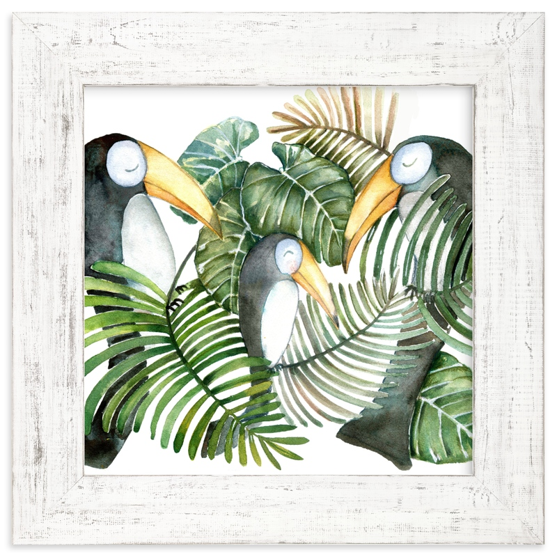 """Toucan jungle family"" - Limited Edition Art Print by Lulaloo in beautiful frame options and a variety of sizes."