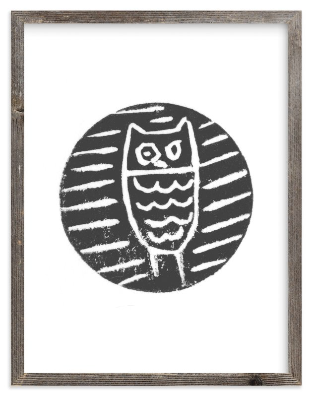 """Little Owl"" - Limited Edition Art Print by Jenn Lawrence in beautiful frame options and a variety of sizes."