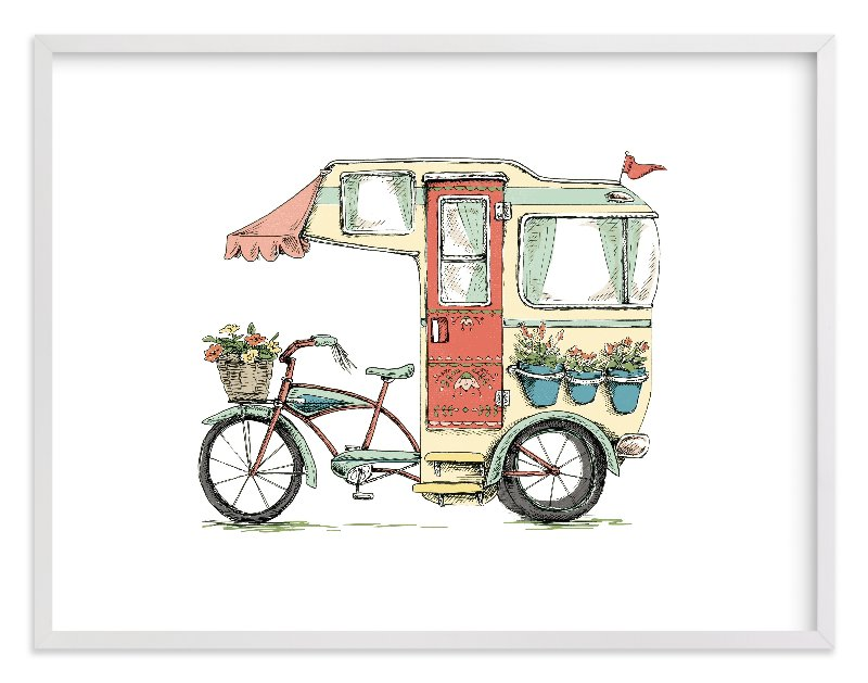 """Trailer Life"" - Limited Edition Art Print by Honeybunch Studio in beautiful frame options and a variety of sizes."
