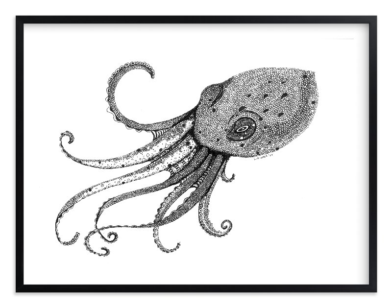 """Octo"" - Limited Edition Art Print by Leah Reitz Winter in beautiful frame options and a variety of sizes."