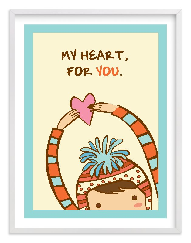 """""""My Heart For You"""" - Limited Edition Art Print by Everyday Greeting in beautiful frame options and a variety of sizes."""