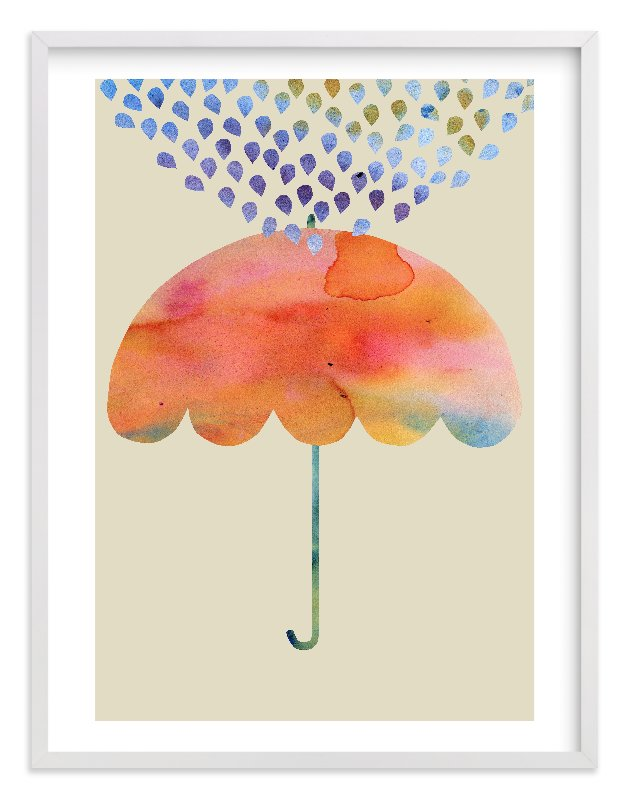 """Rainbow Umbrella"" - Limited Edition Art Print by Kanika Mathur in beautiful frame options and a variety of sizes."