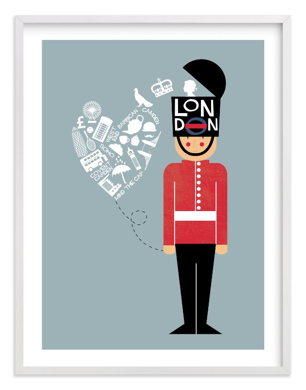 """I Left My Heart In London"" - Limited Edition Art Print by Bonjour Berry in beautiful frame options and a variety of sizes."