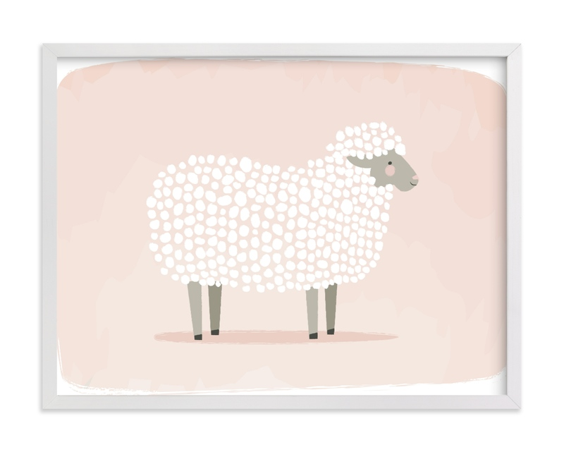 This is a white kids wall art by Karidy Walker called woolly sheep.