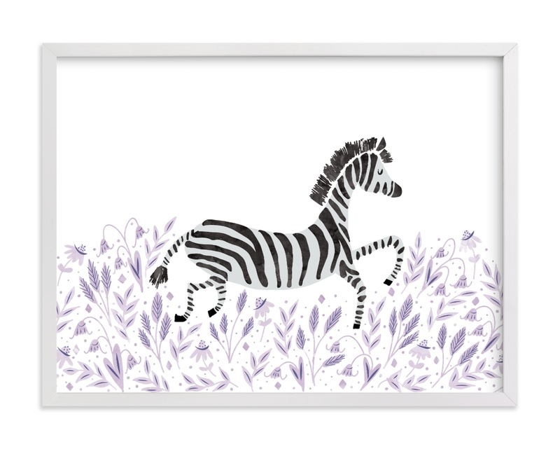This is a purple kids wall art by Jackie Crawford called Zebra in the Flowers.