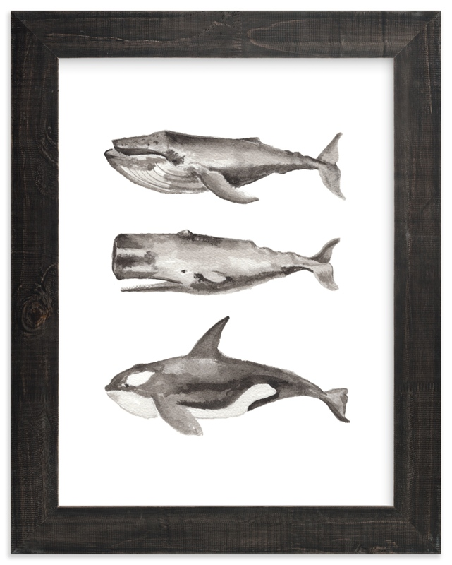 """Three Stacked Whales"" - Limited Edition Art Print by Two if by Sea Studios in beautiful frame options and a variety of sizes."