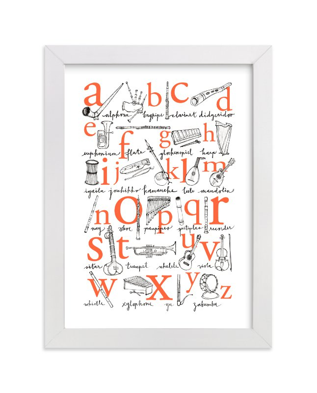 """""""ABC of Musical Instruments"""" - Limited Edition Art Print by Phoebe Schweizer West in beautiful frame options and a variety of sizes."""