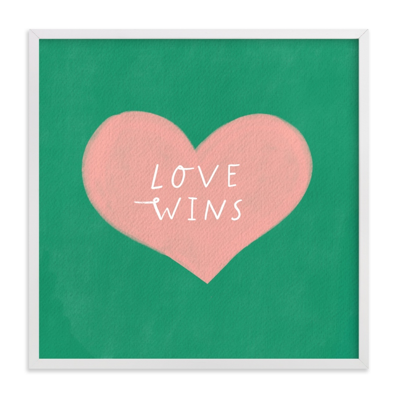 This is a pink kids wall art by Little Miss Missy called Love Wins.