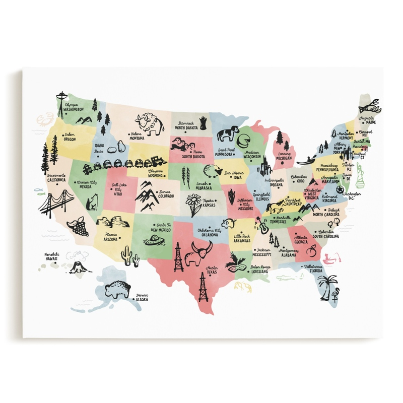 Retro United States Map Children's Art Print
