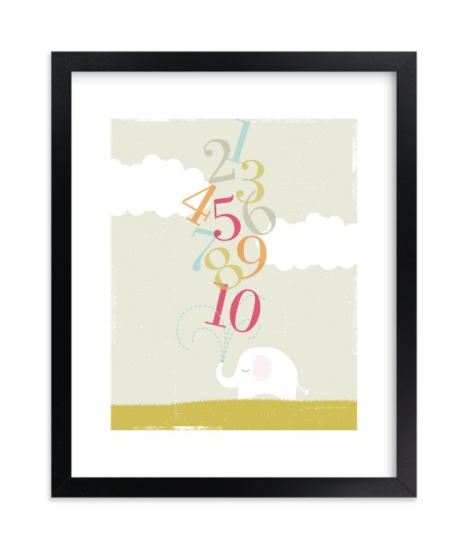 """Numbers Elephant"" - Limited Edition Art Print by Kristie Kern in beautiful frame options and a variety of sizes."