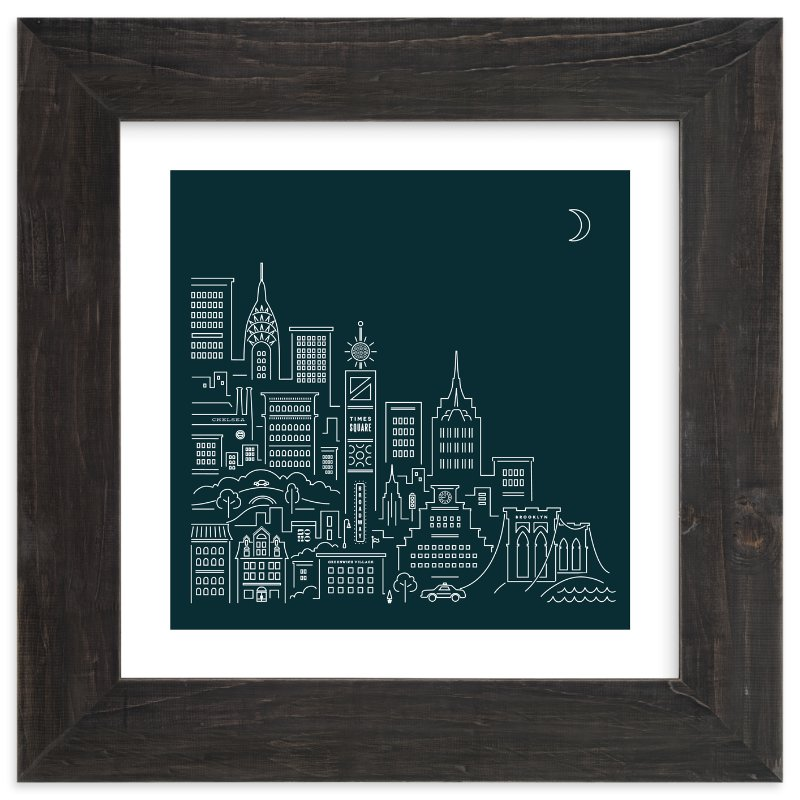 """""""goodnight new york"""" - Limited Edition Art Print by Jennifer Wick in beautiful frame options and a variety of sizes."""