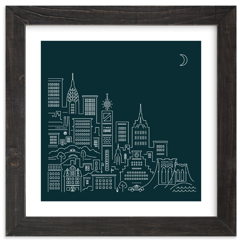 """goodnight new york"" - Limited Edition Art Print by Jennifer Wick in beautiful frame options and a variety of sizes."