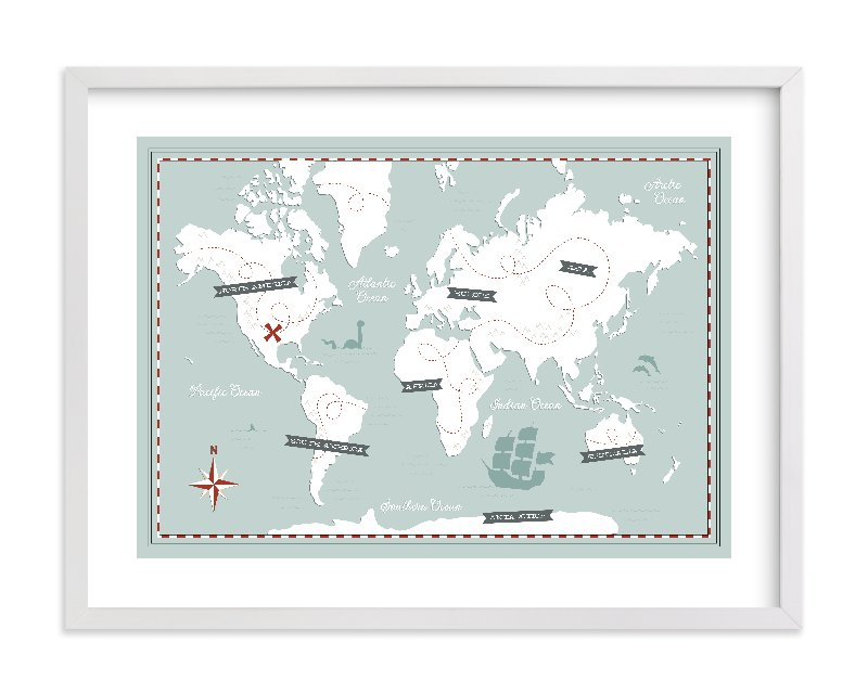 """Treasure Map"" - Limited Edition Art Print by Jessie Steury in beautiful frame options and a variety of sizes."