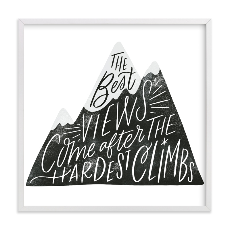This is a black and white kids wall art by Alethea and Ruth called Mountain Climb.