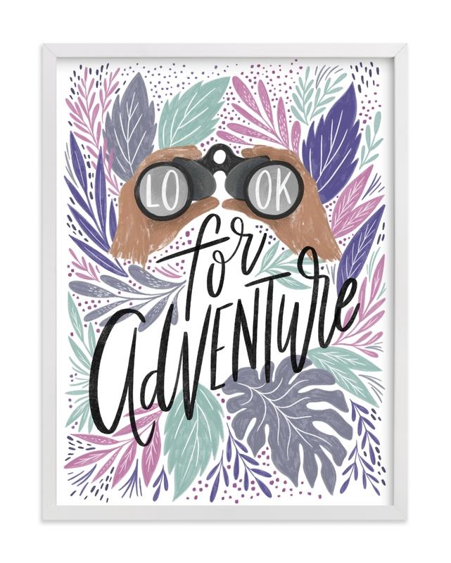 This is a blue kids wall art by Alethea and Ruth called Look for Adventure.
