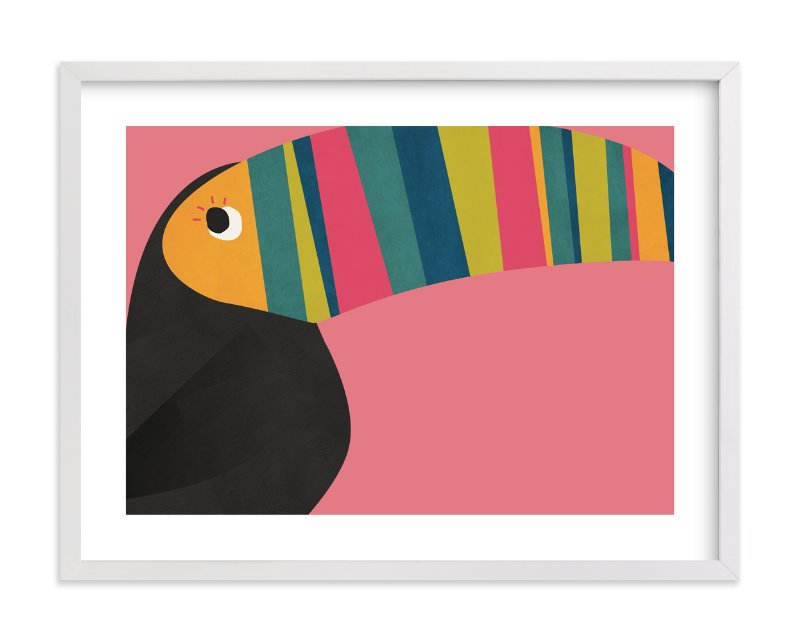 """Stripy Toucan"" - Limited Edition Art Print by Catherine Culvenor in beautiful frame options and a variety of sizes."
