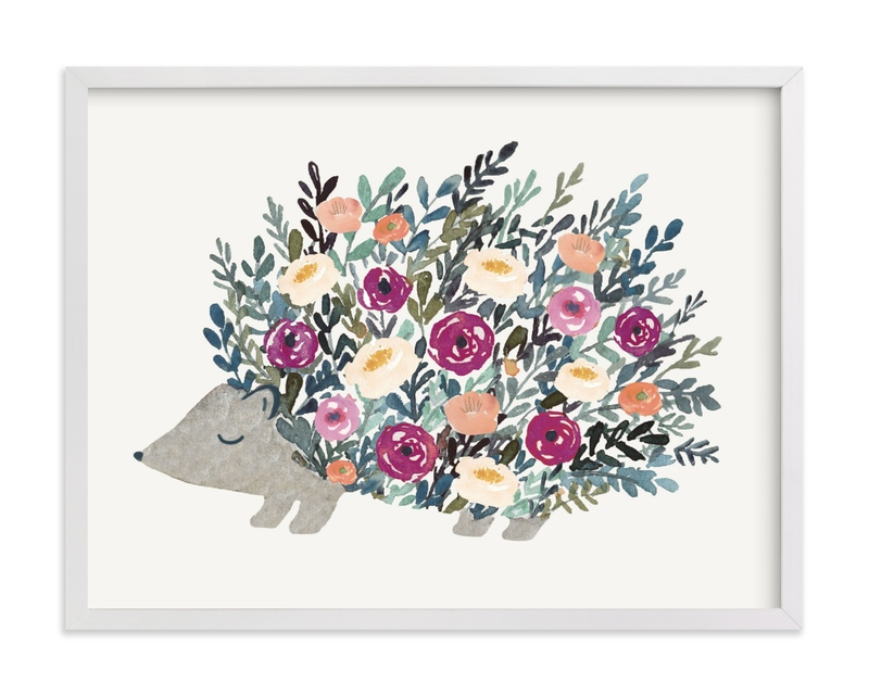 This is a purple kids wall art by Afton Harding called Porcupine Bloom.