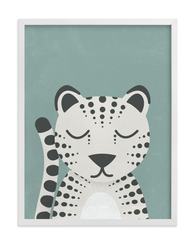 This is a blue kids wall art by 2birdstone called Snow Leopard.