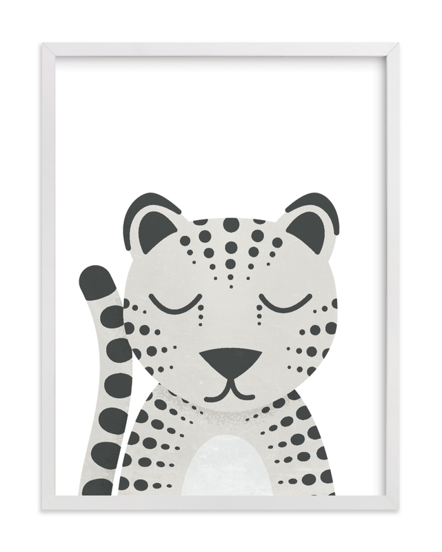 This is a black and white kids wall art by 2birdstone called Snow Leopard.