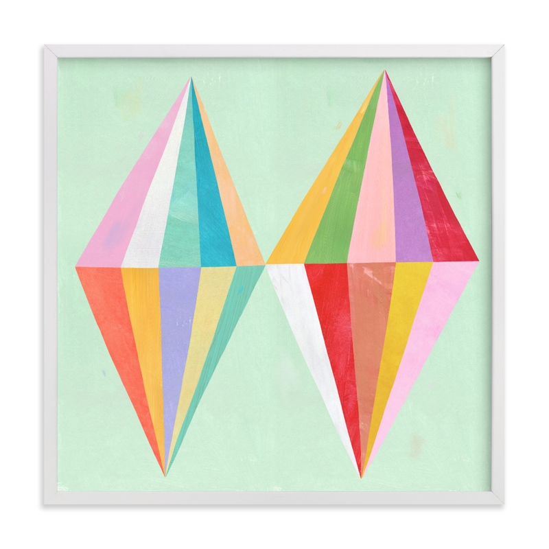 This is a yellow kids wall art by melanie mikecz called Two Diamonds.