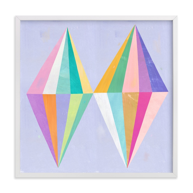 This is a purple kids wall art by melanie mikecz called Two Diamonds.