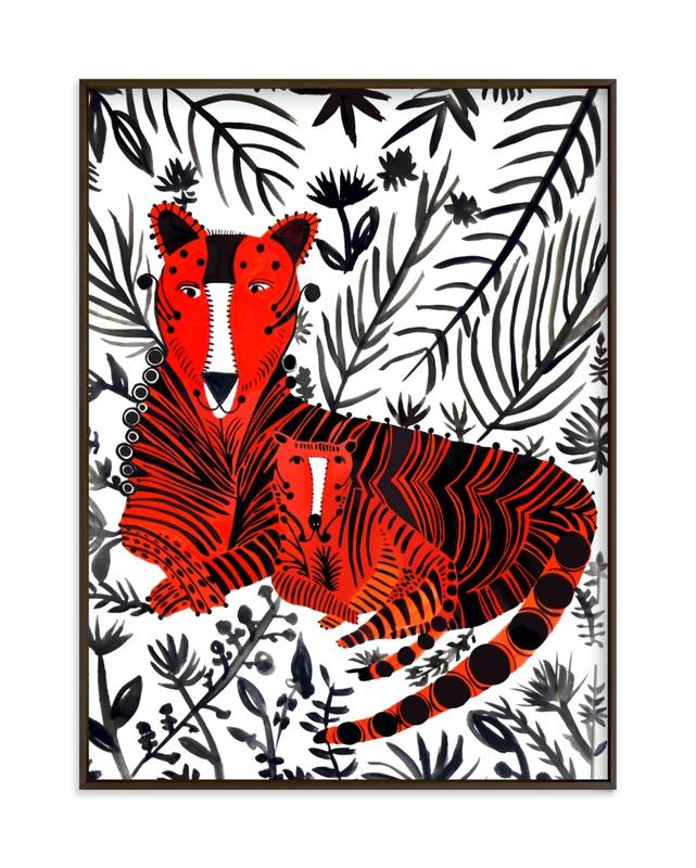Jubilant Corral Tigers Children's Art Print