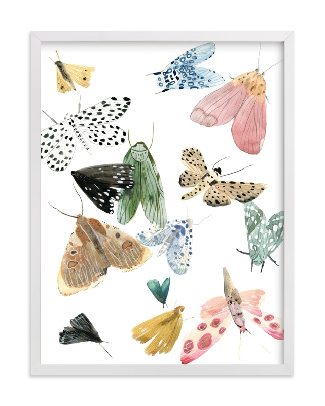 This is a colorful kids wall art by Emilie Simpson called Moths.