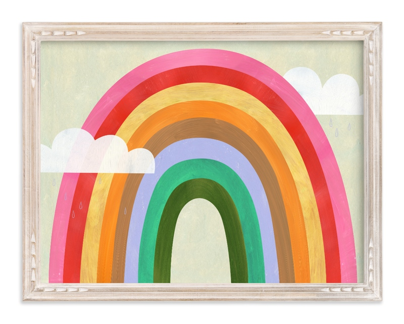 """""""Rainbow & Clouds"""" - Limited Edition Art Print by melanie mikecz in beautiful frame options and a variety of sizes."""