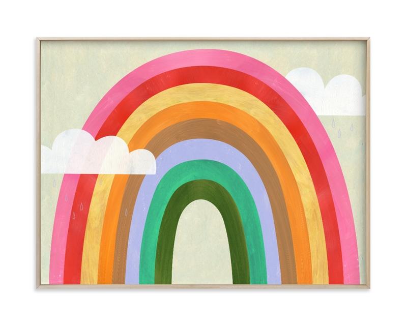 Rainbow & Clouds Children's Art Print