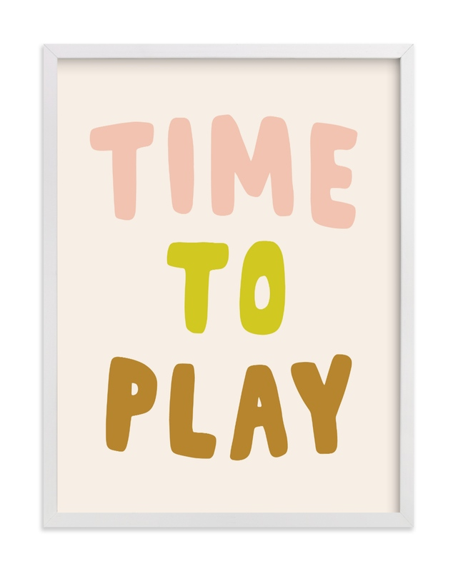 This is a brown kids wall art by Vine and Thistle called Time to Play.