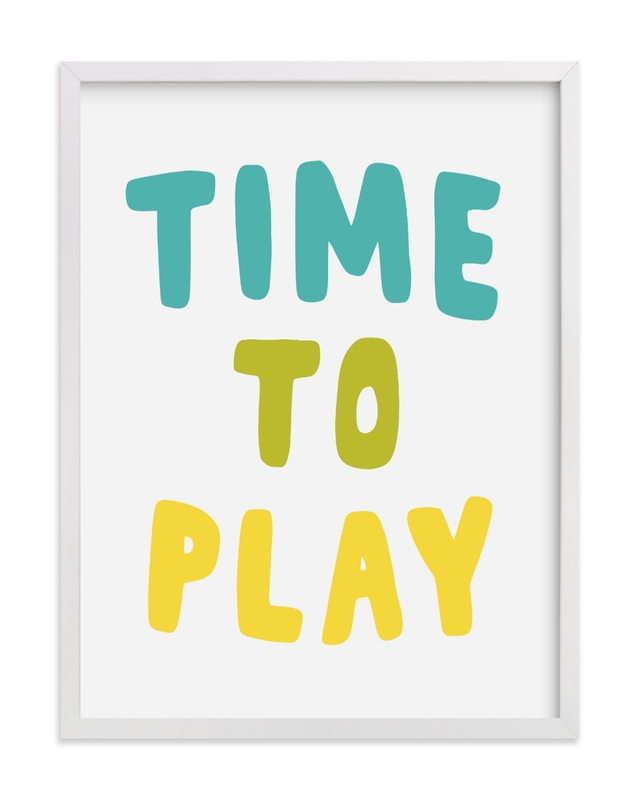 This is a green kids wall art by Vine and Thistle called Time to Play.